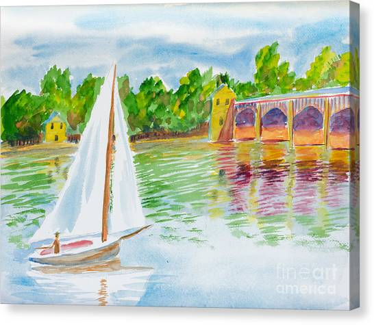 Sailing By The Bridge Canvas Print