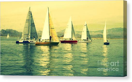 Jibbing Canvas Print - Sailing Day Regatta 2 by Julie Lueders