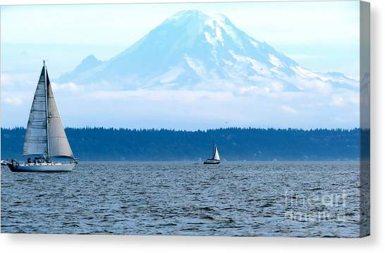 Sailing In Mt. Rainier's Shadow Canvas Print