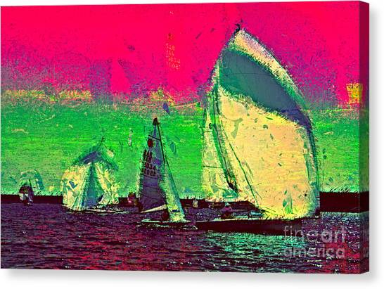 Jibbing Canvas Print - Sailing In Shimmer by Julie Lueders