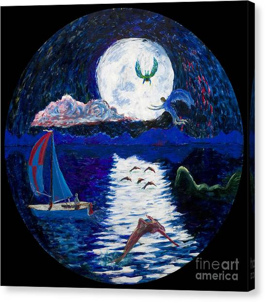 Sailing In The Moonlight Canvas Print
