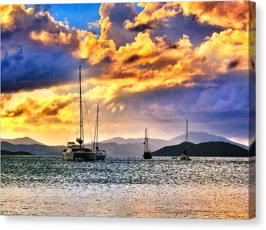 Sailing In The Sunset Canvas Print by Emily Eisenberg