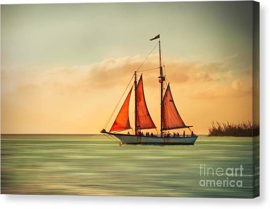 Sailing Into The Sun Canvas Print
