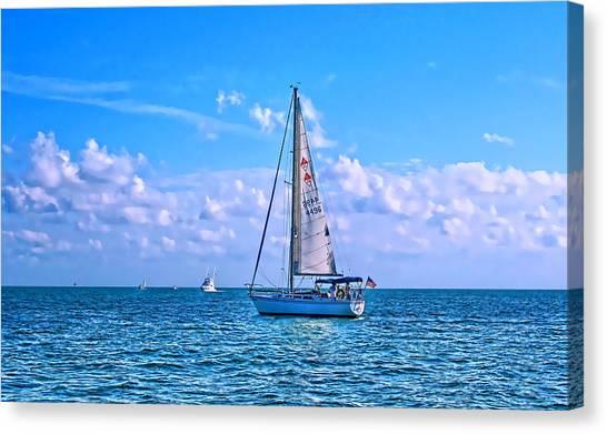 Sailing Off Of Key Largo Canvas Print