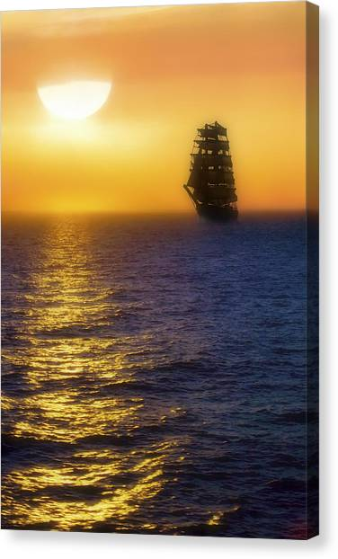 Sailing Out Of The Fog At Sunrise Canvas Print