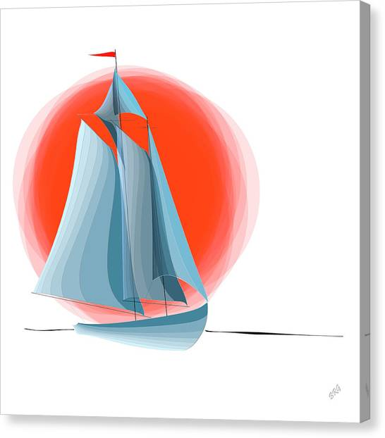 Sailing Red Sun Canvas Print