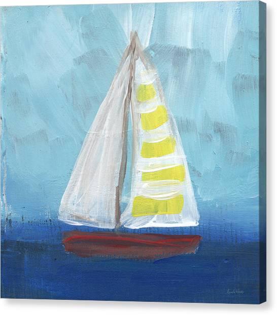 Sailboats Canvas Print - Sailing- Sailboat Painting by Linda Woods
