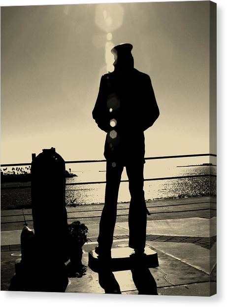 Sailor Statue Over Long Beach Harbor Canvas Print