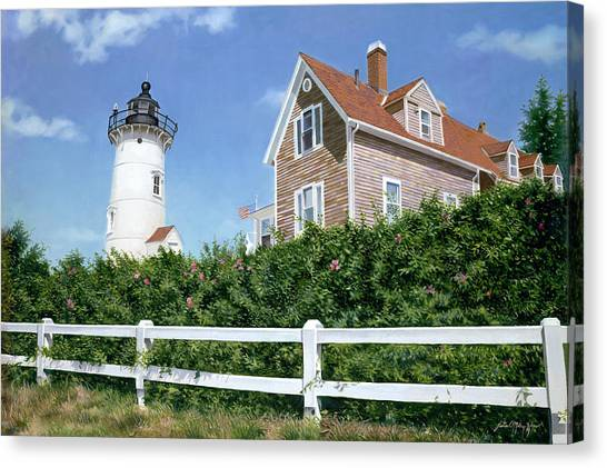 Sailors Gift - Nobska Lighthouse Canvas Print by Julia O'Malley-Keyes