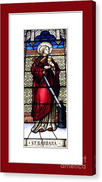 Canvas Print featuring the photograph Saint Barbara Stained Glass Window by Rose Santuci-Sofranko