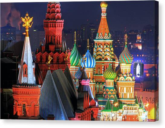 Moscow Canvas Print - Saint Basils Cathedral On Red Square In Moscow by Lars Ruecker