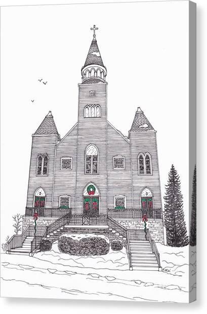 Saint Bridget's Church At Christmas Canvas Print