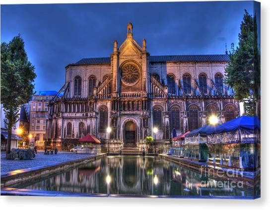 Baroque Art Canvas Print - Saint Catherine Church. Brussels by Juli Scalzi