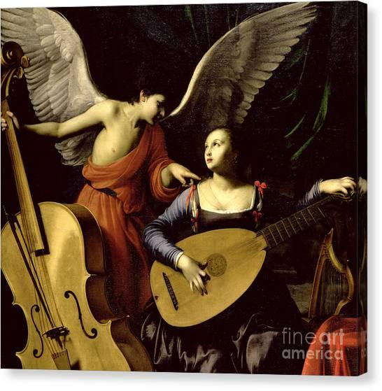 Lute Canvas Print - Saint Cecilia And The Angel by Carlo Saraceni