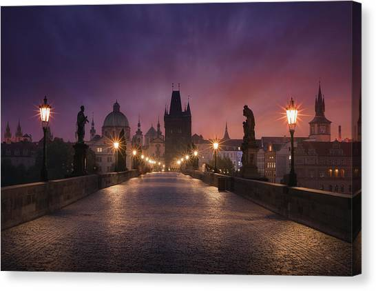 Street Lamp Canvas Print - Saint Charles Bridge, Prague by Inigo Cia
