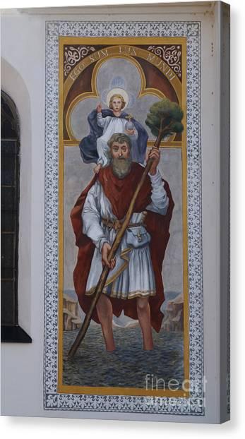 Saint Christopher Mural - Kranj - Slovenia Canvas Print by Phil Banks