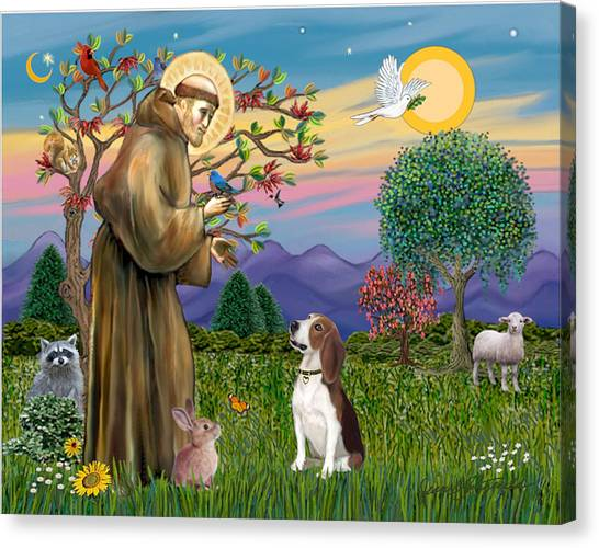 Saint Francis Blesses A Beagle Canvas Print