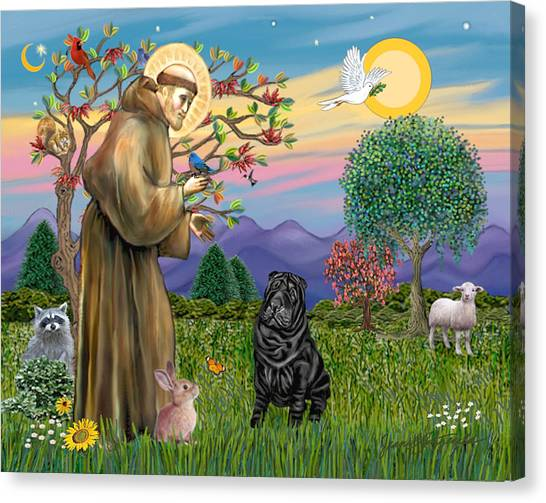 Saint Francis Blesses A Black Chinese Shar Pei Canvas Print
