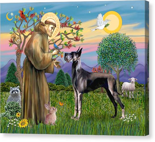 Saint Francis Blesses A Black Great Dane Canvas Print