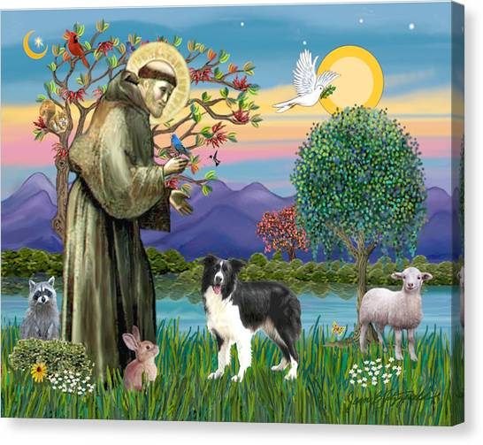 Saint Francis Blesses A Border Collie Canvas Print