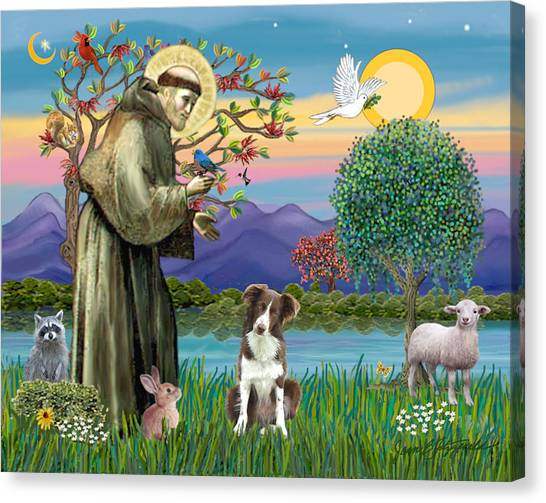 Saint Francis Blesses A Brown And White Border Collie Canvas Print