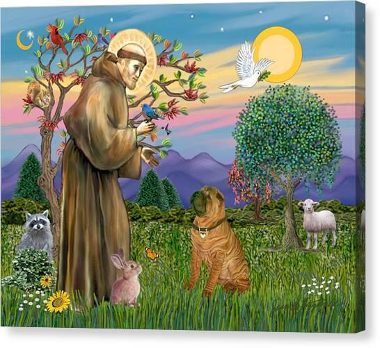Saint Francis Blesses A Chinese Shar Pei Canvas Print