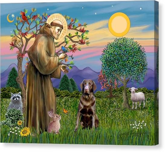 Saint Francis Blesses A Chocolate Labrador Retriever Canvas Print