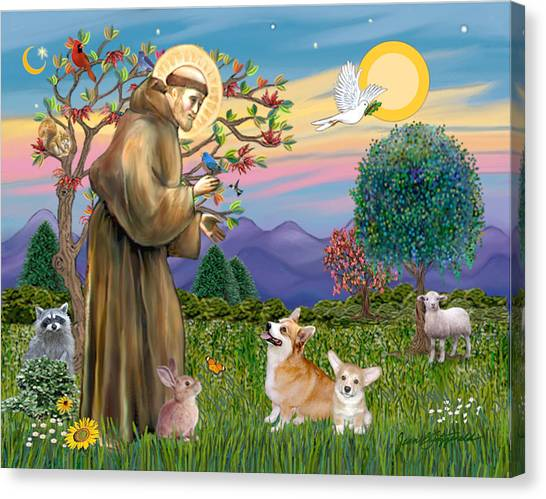 Saint Francis Blesses A Corgi And Her Pup Canvas Print