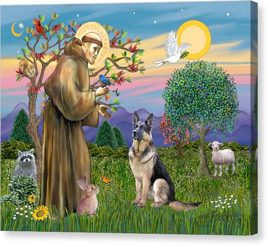 Saint Francis Blesses A German Shepherd Canvas Print