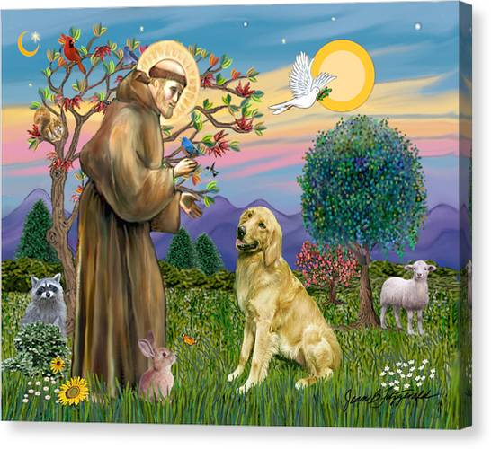 Saint Francis Blesses A Golden Retriever Canvas Print