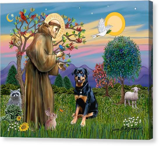 Saint Francis Blesses A Rottweiler Canvas Print