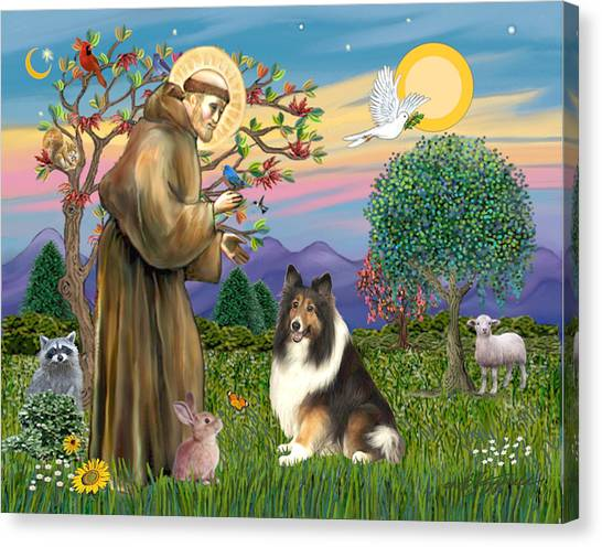 Saint Francis Blesses A Sable And White Collie Canvas Print