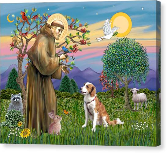 Saint Francis Blesses A Welsh Springer Spaniel Canvas Print