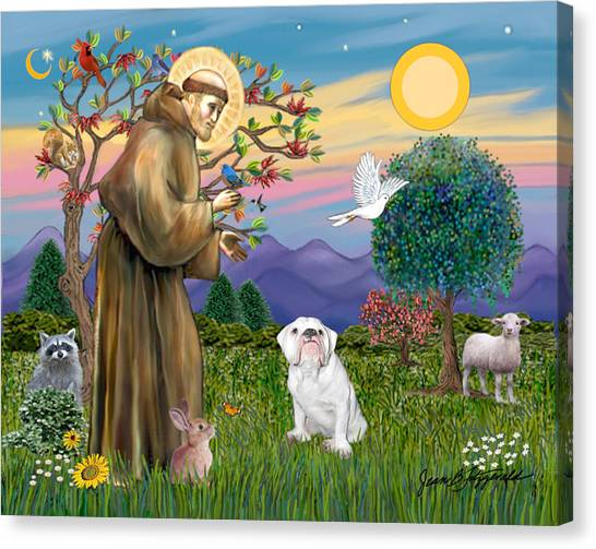 Saint Francis Blesses An English Bulldog Canvas Print