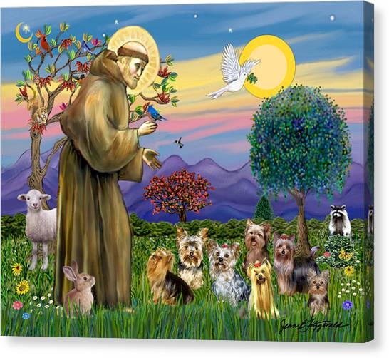Saint Francis Blesses Seven Yorkies Canvas Print