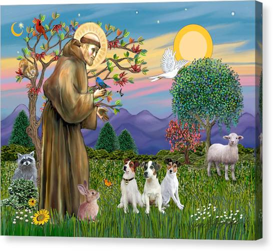 Saint Francis Blesses Three Jack Russell Terriers Canvas Print
