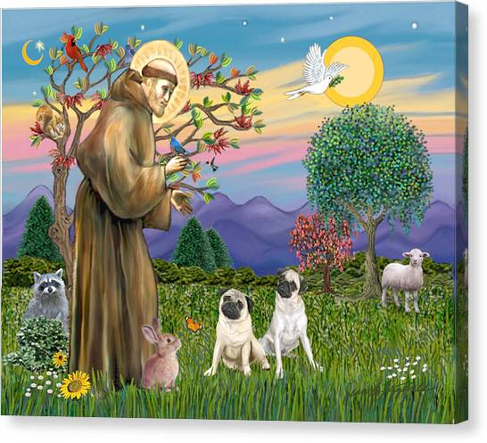 Saint Francis Blesses Two Fawn Pugs Canvas Print