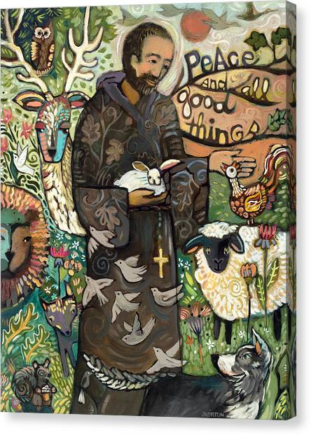 Biblical Canvas Print - Saint Francis by Jen Norton
