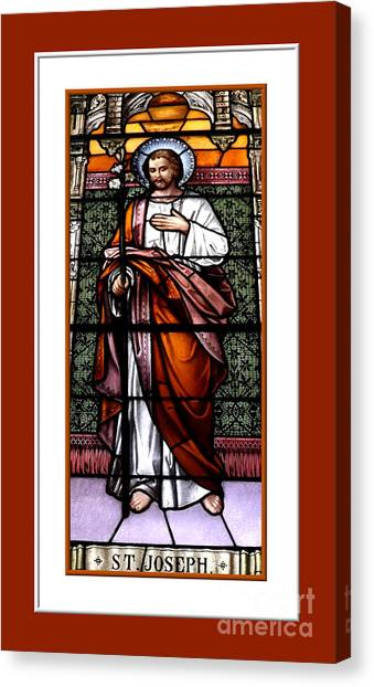 Canvas Print featuring the photograph Saint Joseph  Stained Glass Window by Rose Santuci-Sofranko