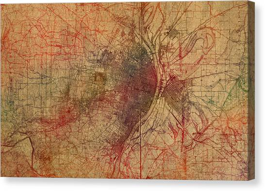 Saint Louis Canvas Print - Saint Louis Missouri Street Map Schematic Watercolor On Old Parchment From 1903 by Design Turnpike
