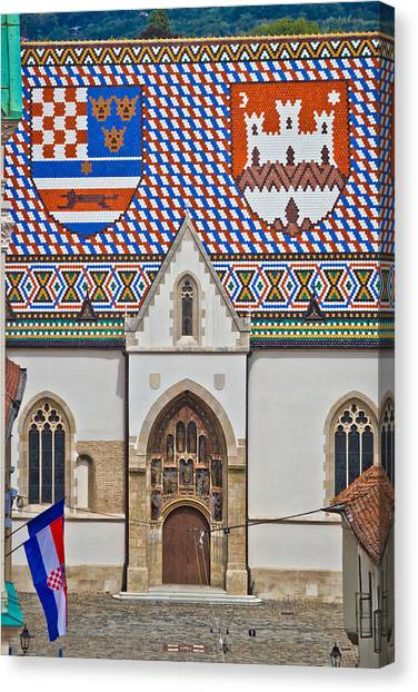 Saint Mark Church Facade Vertical View Canvas Print