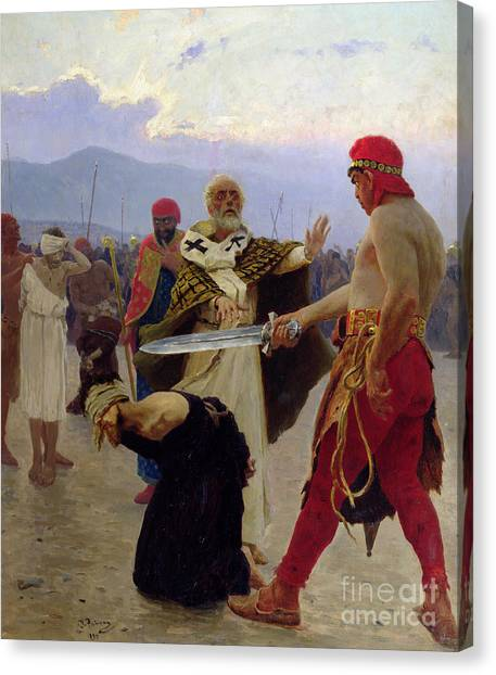 Bishops Canvas Print - Saint Nicholas Of Myra Saves Three Innocents From Death by Ilya Efimovich Repin