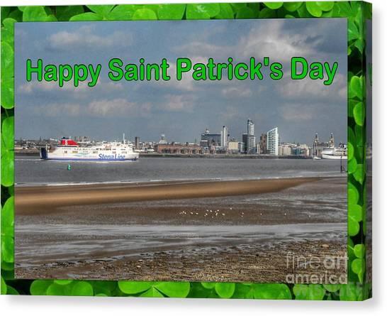Saint Patrick's Greeting Across The Mersey Canvas Print