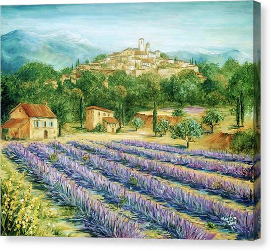 Southern France Canvas Print - Saint Paul De Vence And Lavender by Marilyn Dunlap