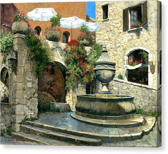 Saint Paul De Vence Fountain Canvas Print