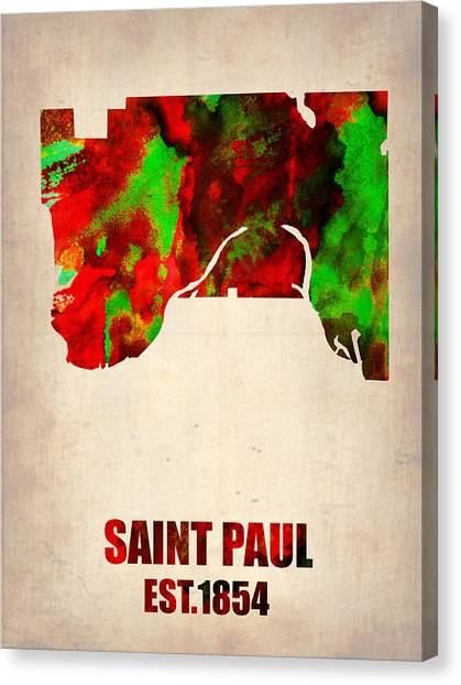 Minnesota Canvas Print - Saint Paul Watercolor Map by Naxart Studio
