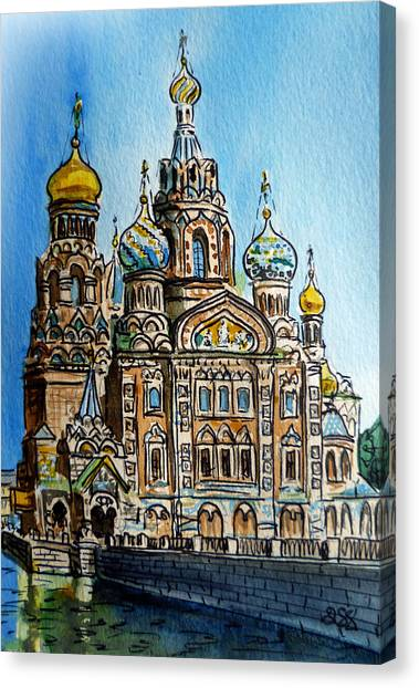 Saint Petersburg Russia The Church Of Our Savior On The Spilled Blood Canvas Print