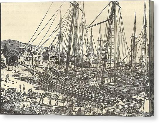 Mount Pelee Canvas Print - Saint Pierre Docks Martinique 1787 by Anon