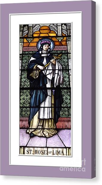 Canvas Print featuring the photograph Saint Rose Of Lima Stained Glass Window by Rose Santuci-Sofranko