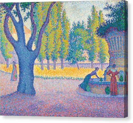 Pointillism Canvas Print - Saint-tropez Fontaine Des Lices by Paul Signac
